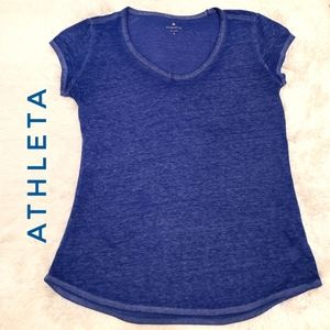 Athleta Burn out cap sleeve blue top